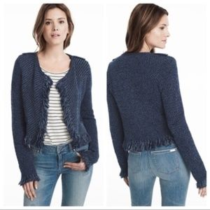 WHBM Blue Fringe Tweed Sweater Cardigan Jacket